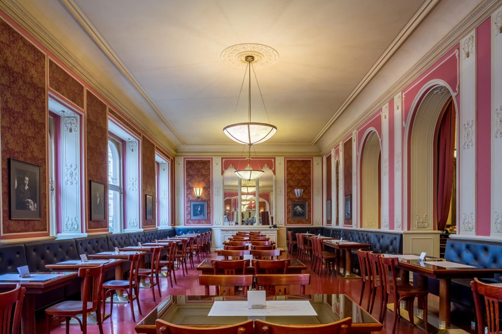 image of the inside of cafe louvre in prague