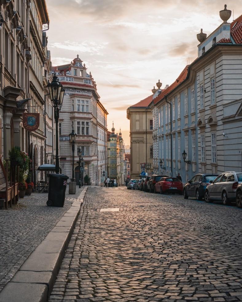 photo of building on Nerudova Street during Sunrise
