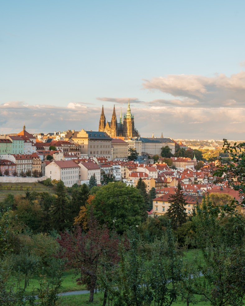 photo of prague castle at sunset from petrin hill