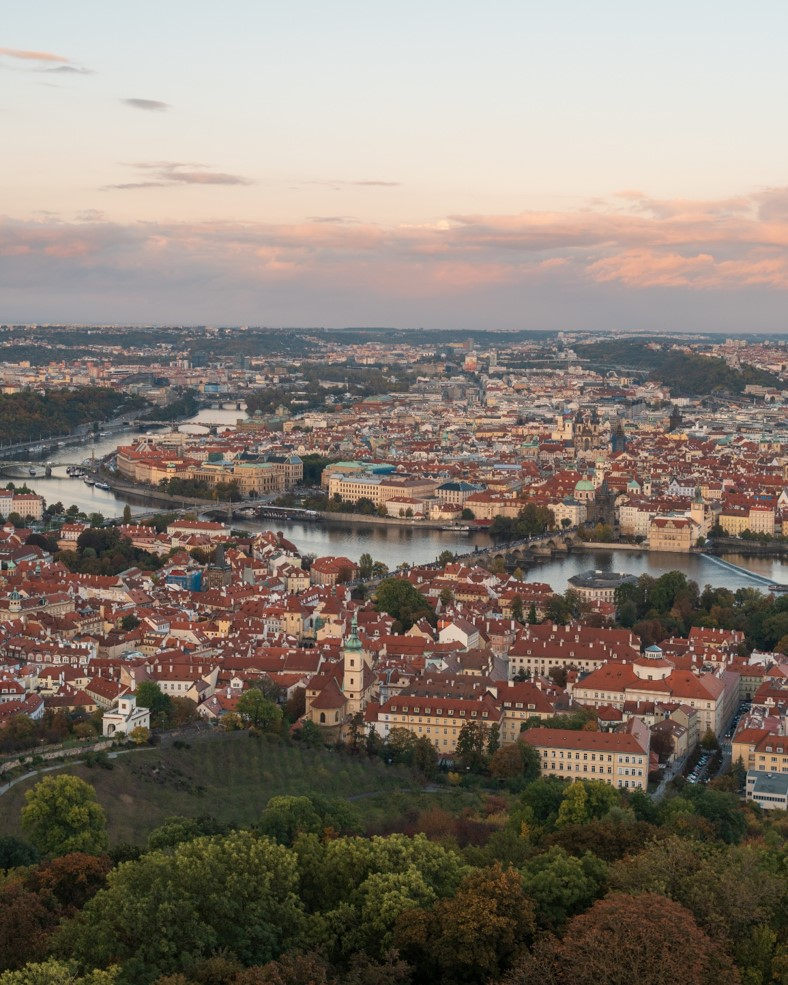 photo taken from on top of petrin lookout at sunset