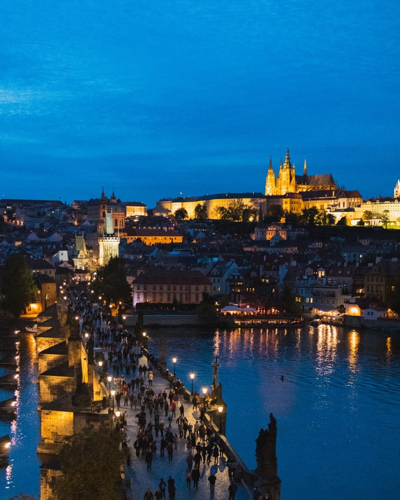 view from the top of Old Tower at Night in prague