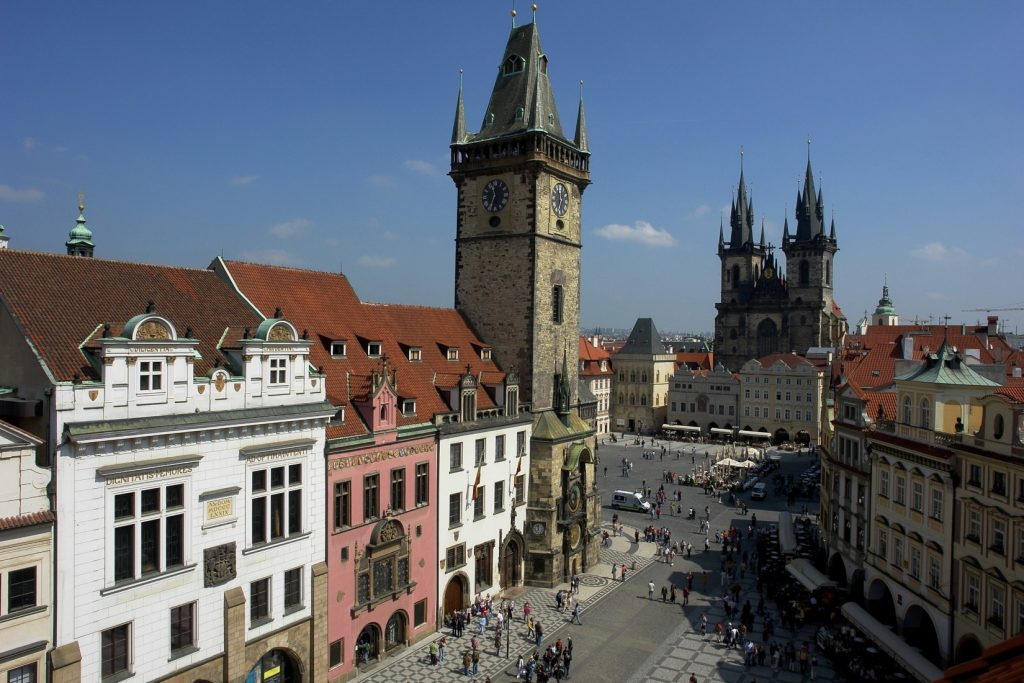 picture of prague old town square from above