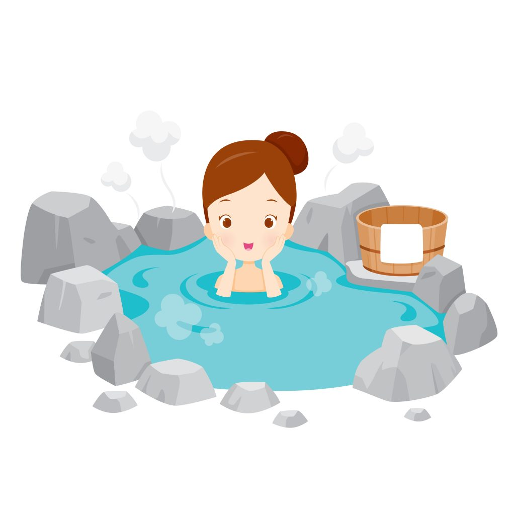 illustration of girl bathing in hot spring
