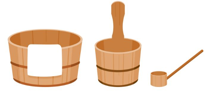 illustration of buckets used in hot springs