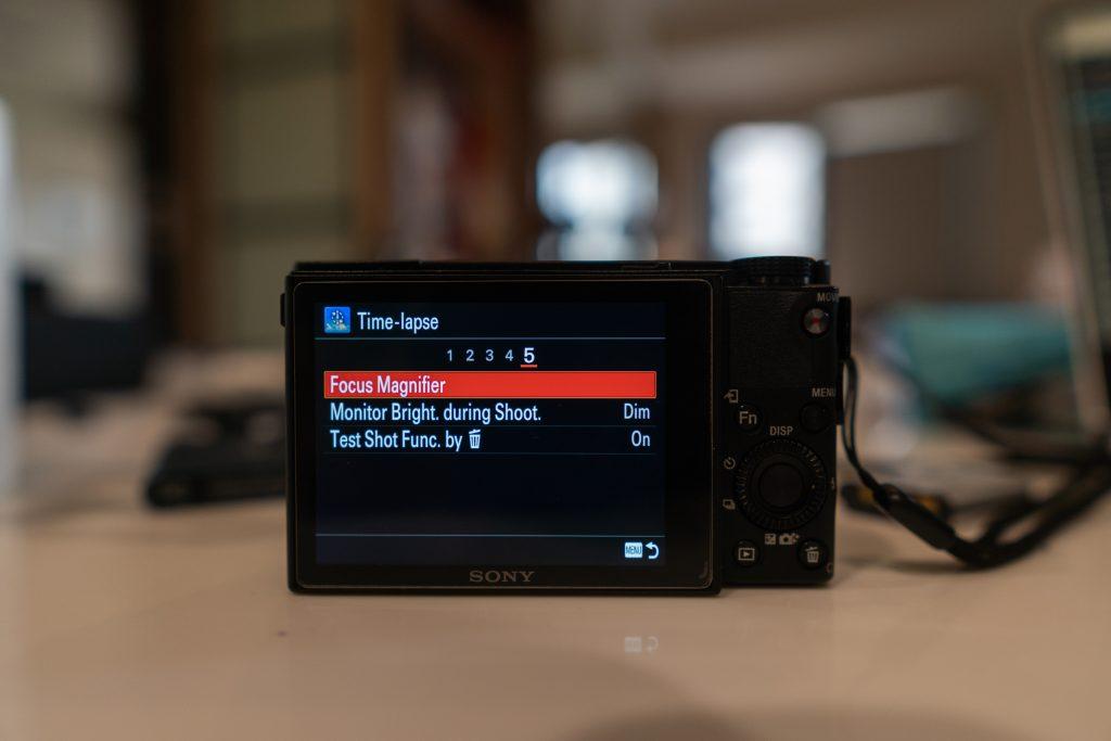 Sony PlayMemories Time Lapse Settings Menu Tab 5