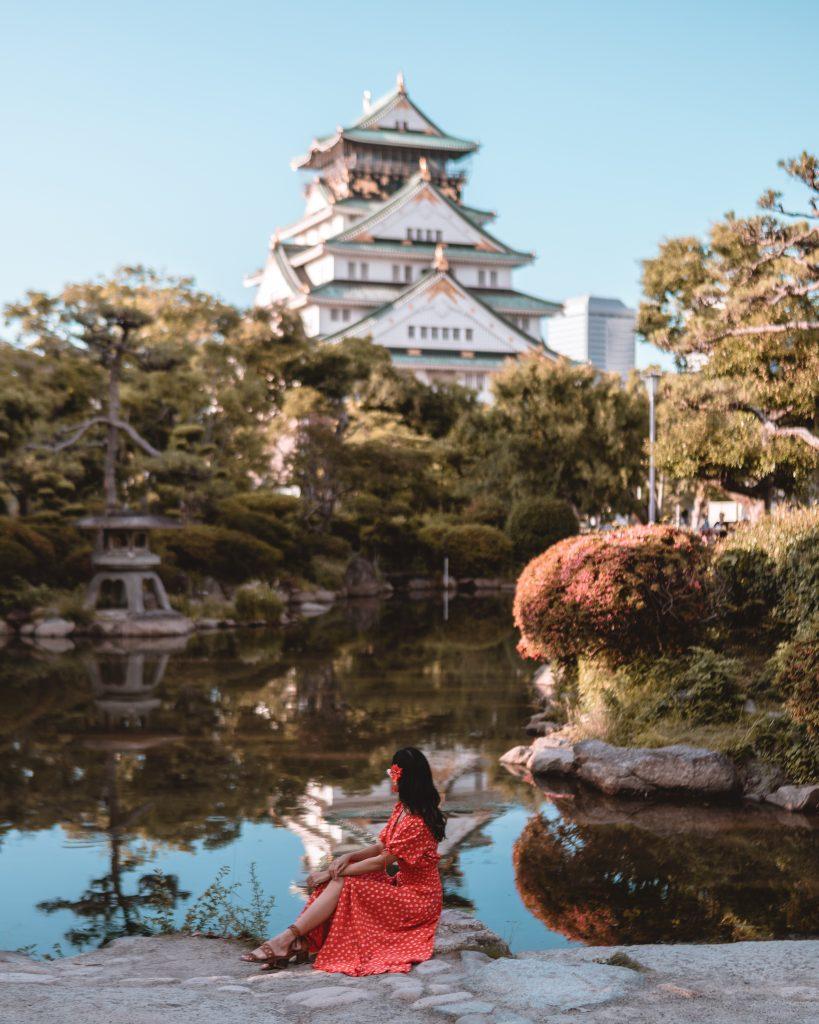 Sitting by Osaka Castle Japanese Garden - witandfolly.co