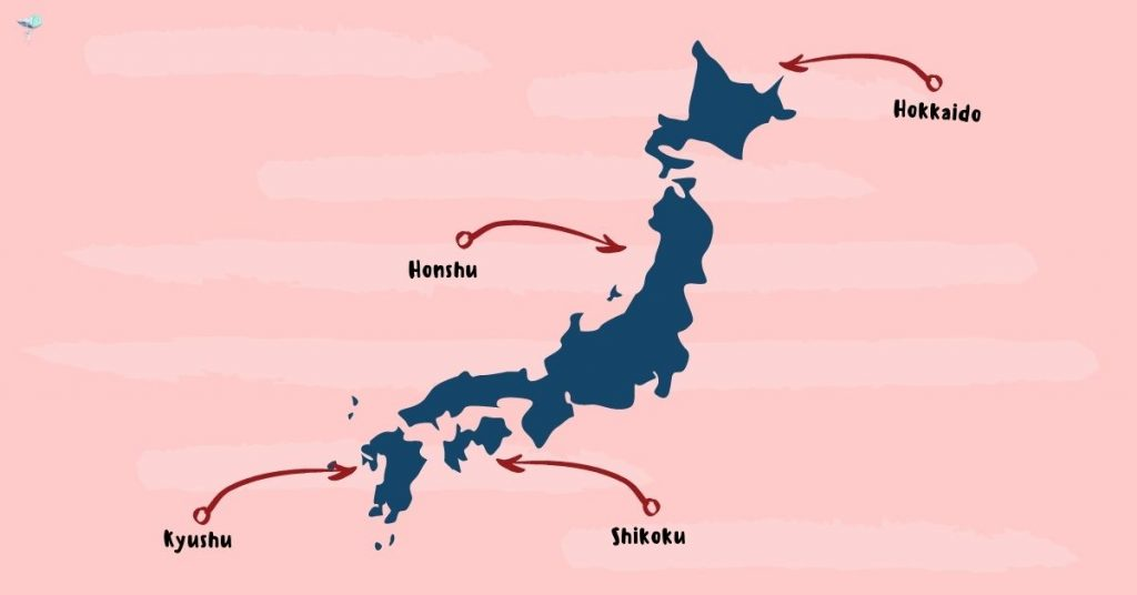 illustration of the 4 main islands of japan