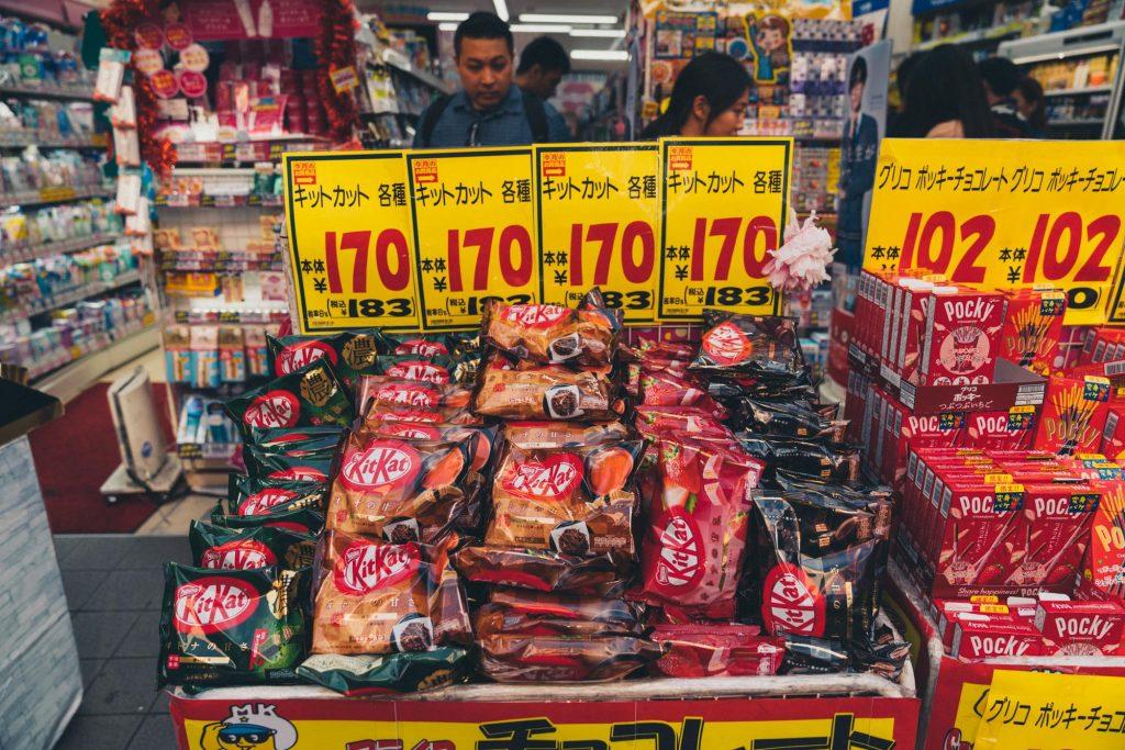 image of kit kats at a store in japan