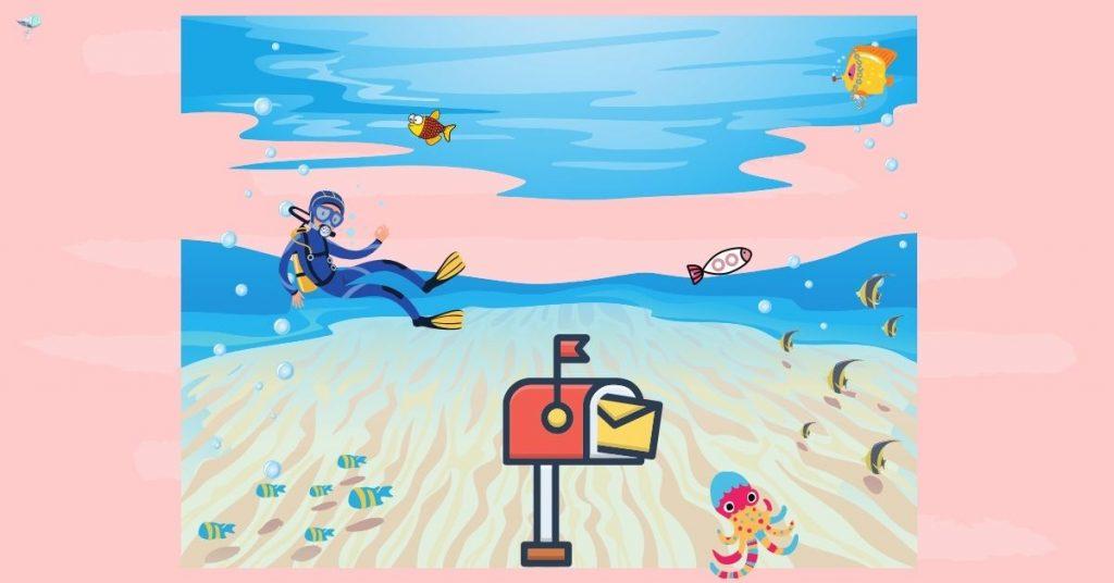 illustration of a mailbox underwater