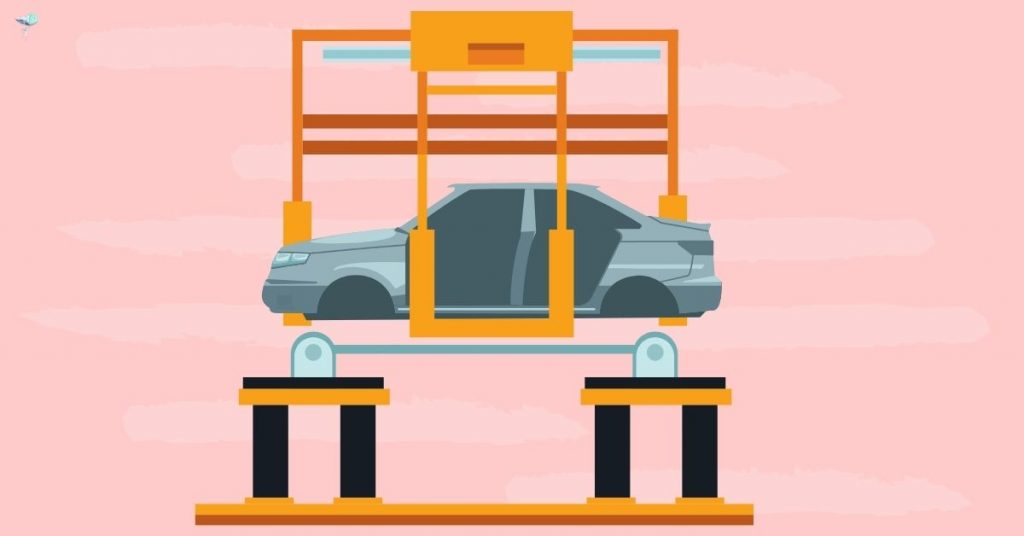 illustration of manufacturing cars