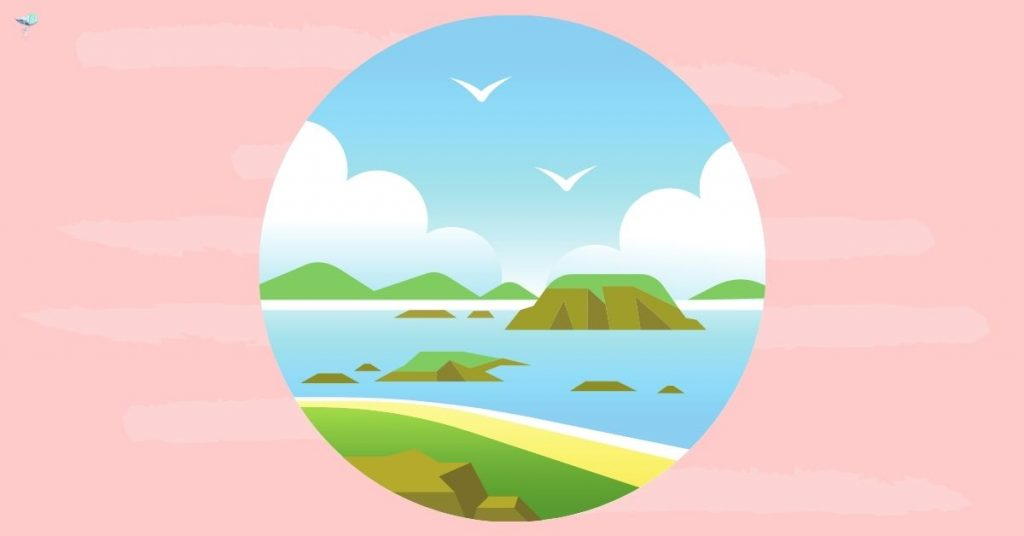 illustration of a coastline in a circle