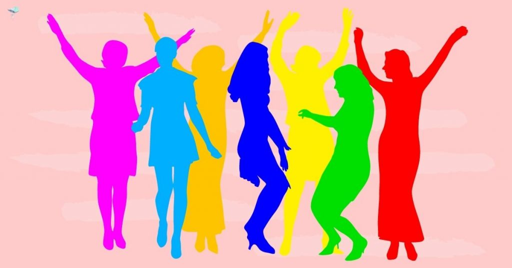 illustration of silhouette of different people dancing