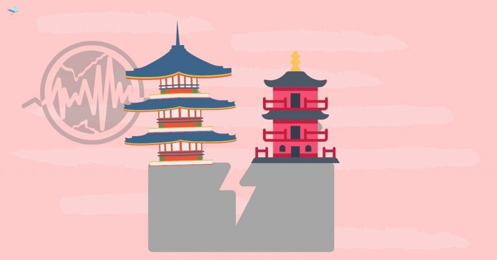 illustration of earthquake hitting temples