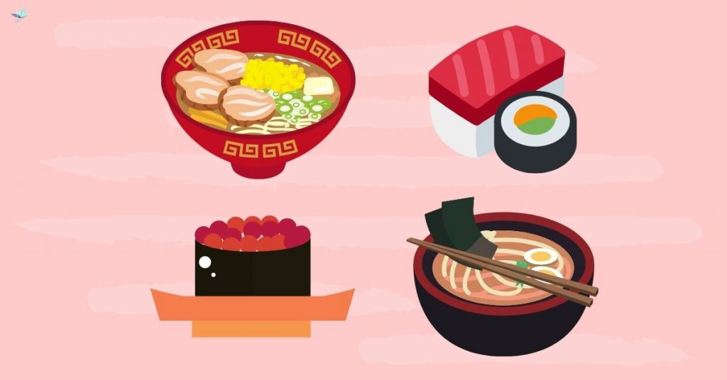 illustration of different japanese foods