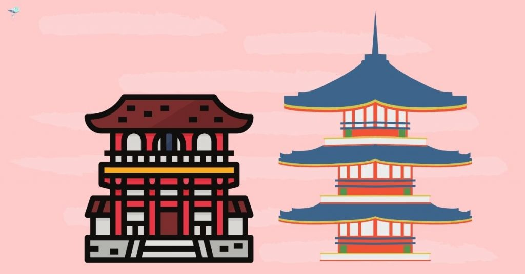 illustration of two different shrines next to each other