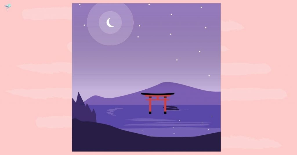 illustration of a lake at night with shrine in the lake