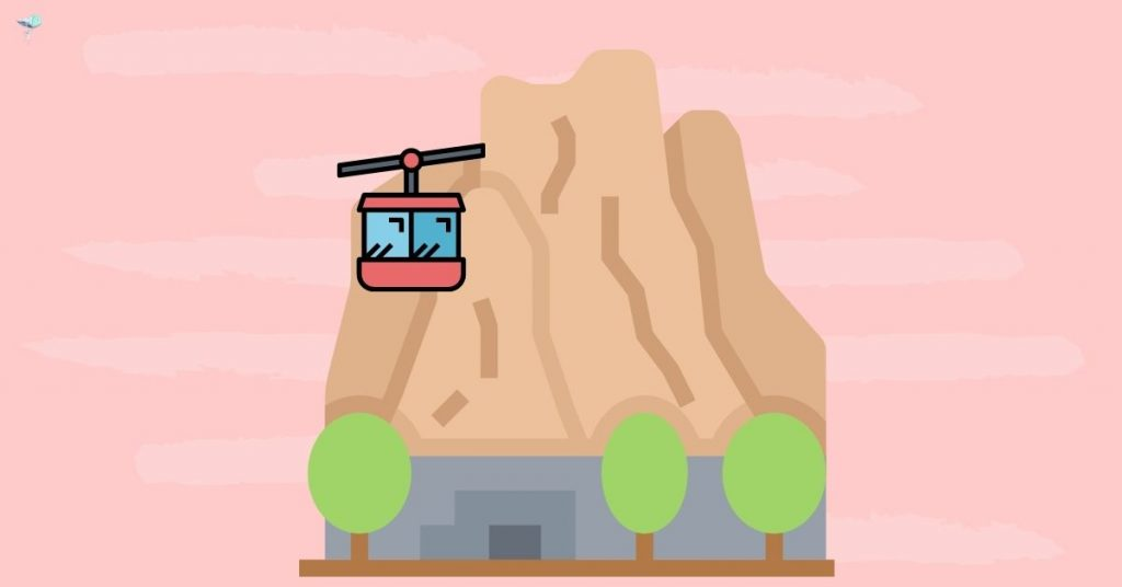 illustration of mountain with cable car