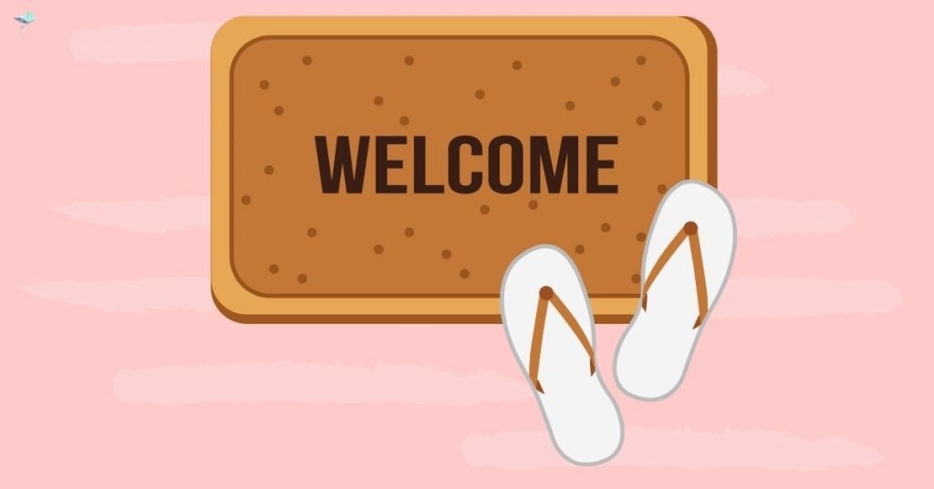 image of sandals on a welcome mat