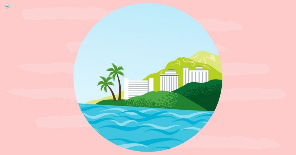 illustration of beach resort