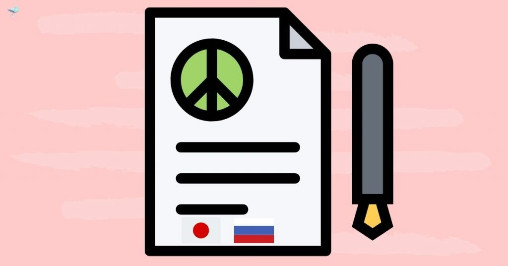 illustration of a peace treaty between japan and russia