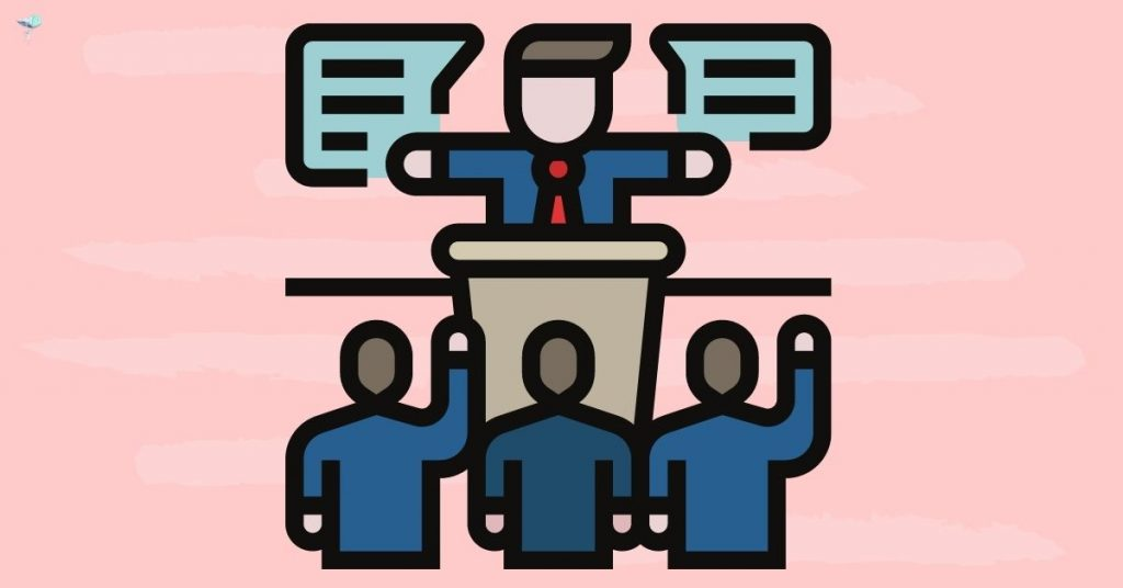 illustration of a person speaking at a podium