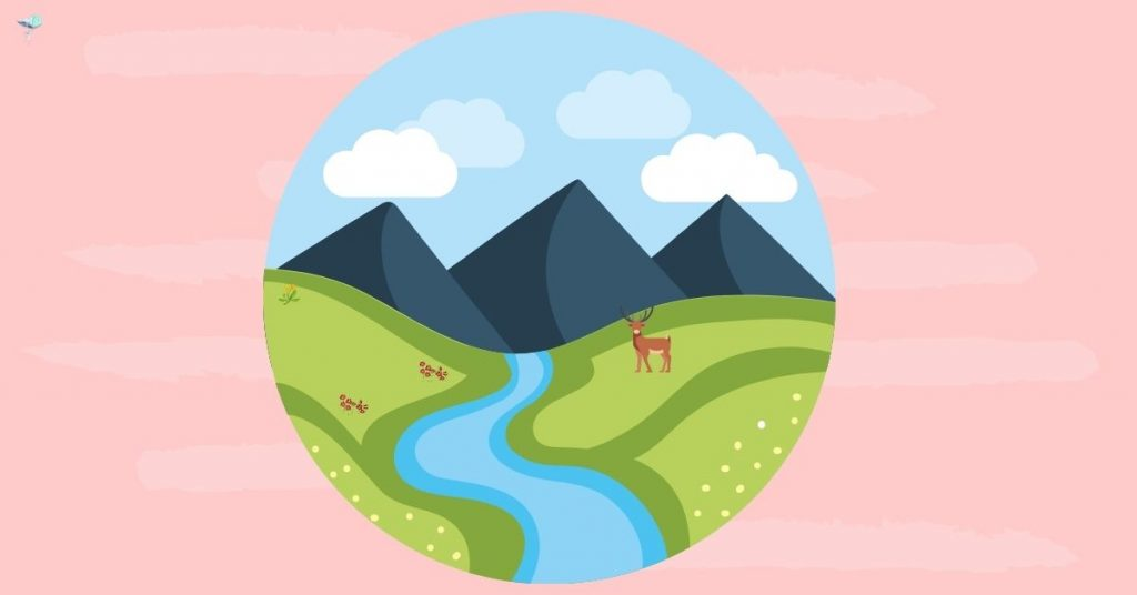 illustration of a river with mountains in the background