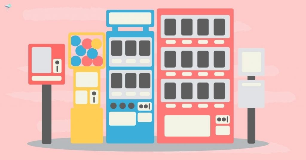 illustration of 3 vending machines next to each other
