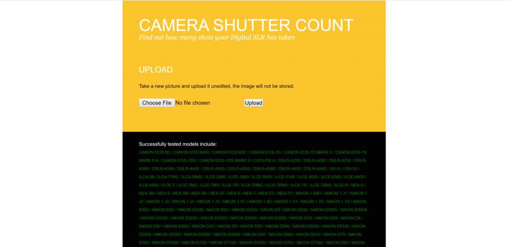 camerashuttercount.com screenshot #1