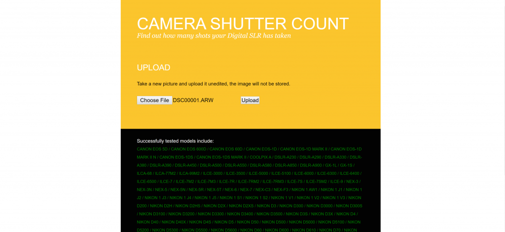 camerashuttercount.com screenshot #3