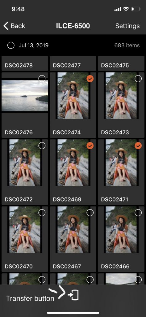 screenshot of multiple images selected to be transferred from sony a6500 to smartphone