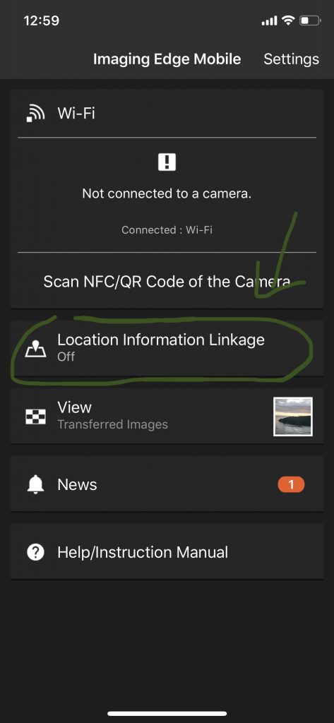 screenshot of imaging edge mobile dashboard with location information linkage option circled