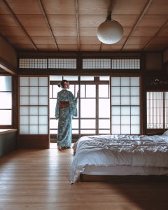 woman standing in japanese style room