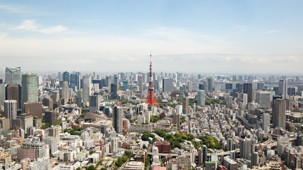 view of tokyo tower from above