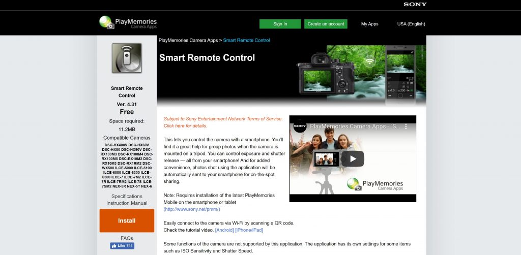 screenshot of smart remote control app on sony playmemories online store