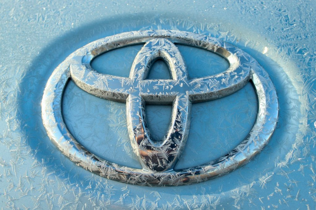 up close photo of toyota logo
