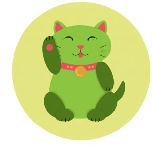 illustration of a green maneki neko