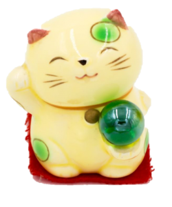 image of maneki neko with 8 ball