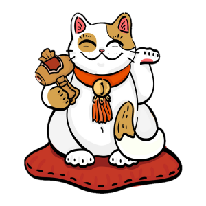 illustration of maneki neko with mallet