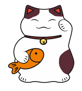 illustration of maneki neko with carp