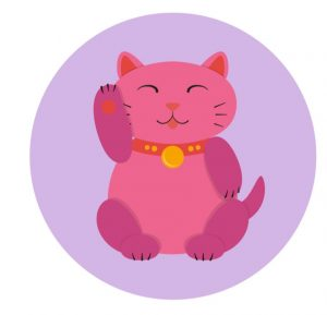 illustration of a pink maneki neko