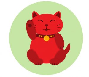 illustration of a red maneki neko