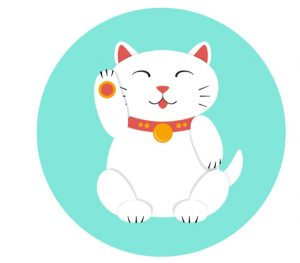 illustration of a white maneki neko