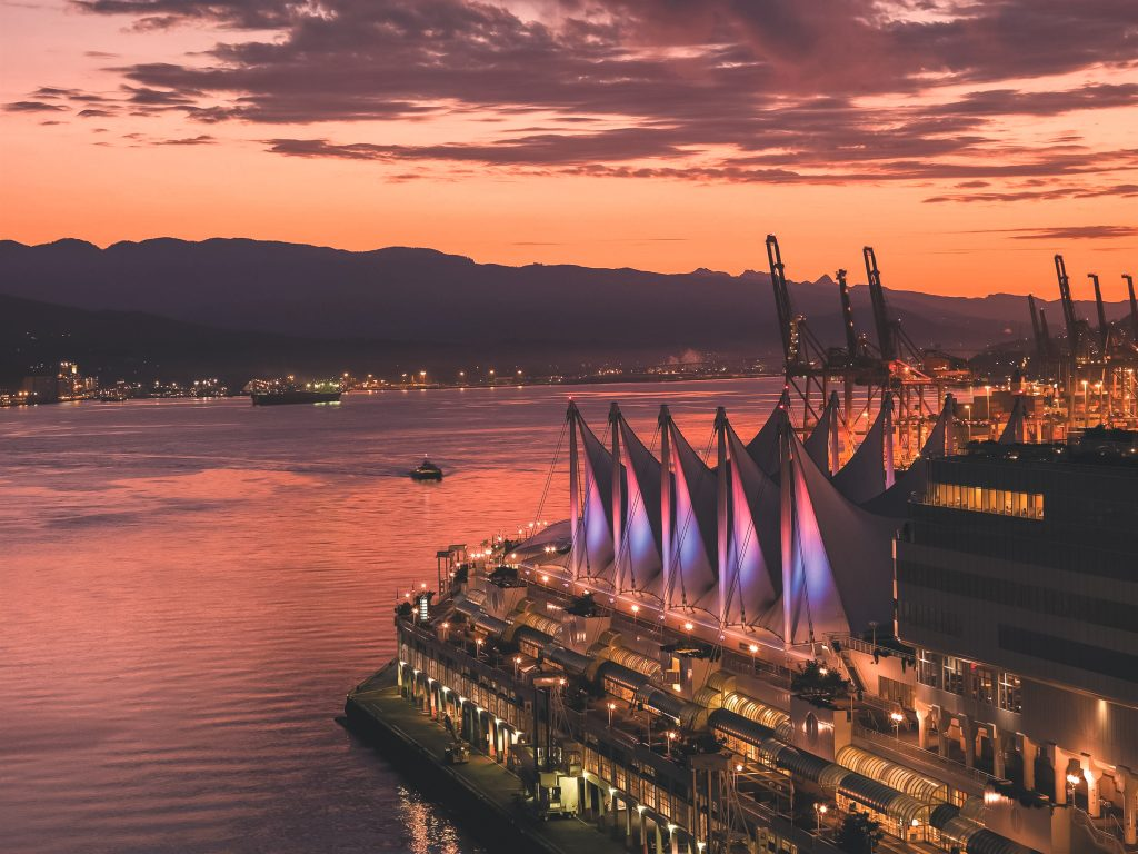 Sunset view of Canada Place