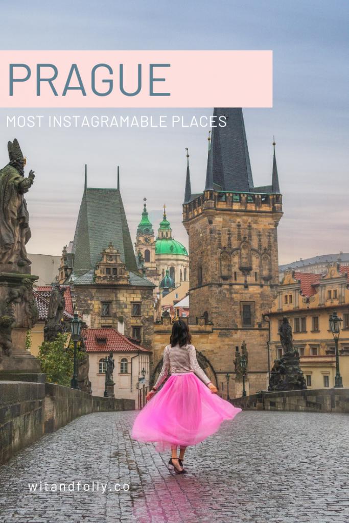 girl in pink dress on charles bridge