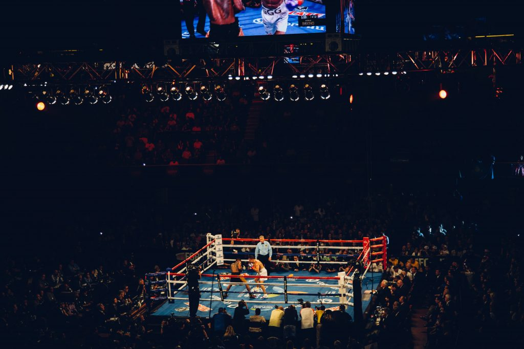 photo of boxing ring from a wide angle
