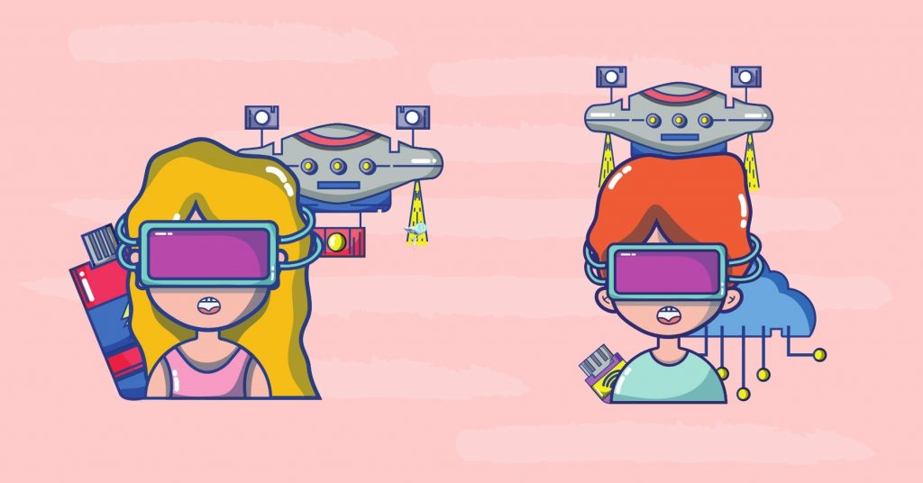 illustration of two cartoon characters wearing first person view glasses for drones
