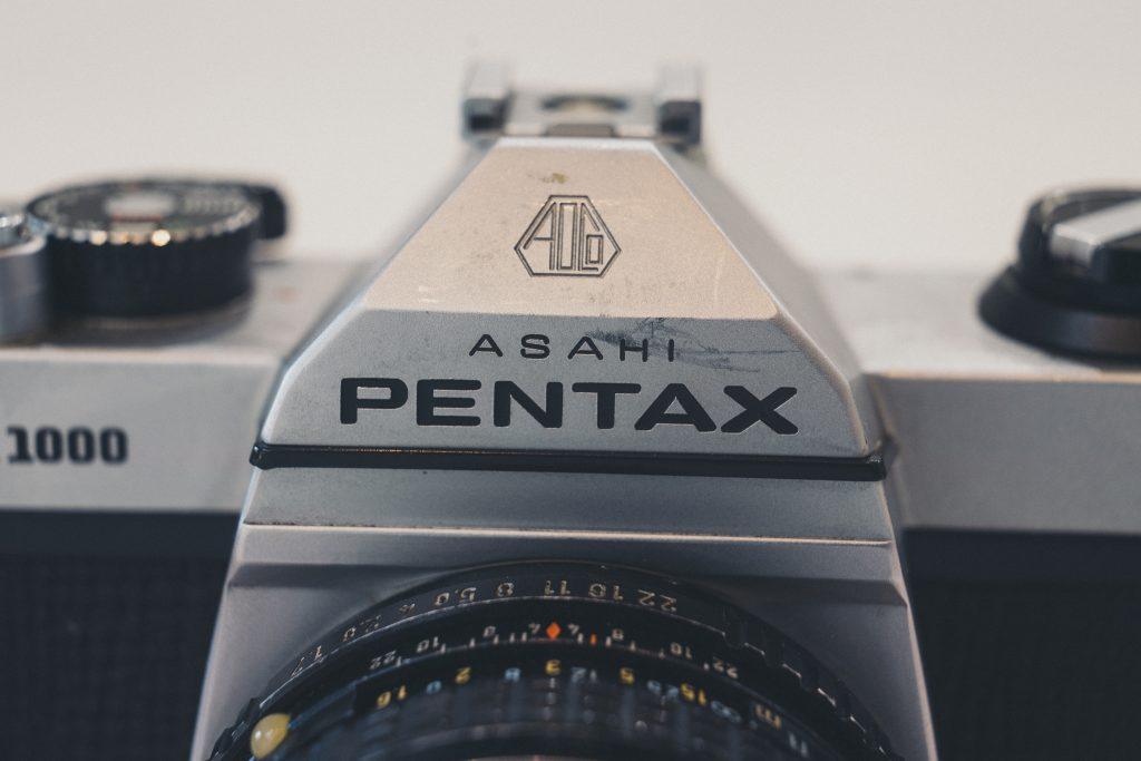 Up close image of Pentax K1000 logo - made in japan