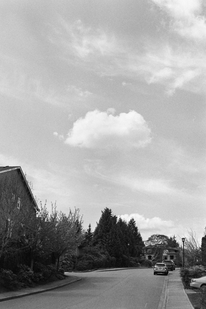 image of cloud over street in black and white