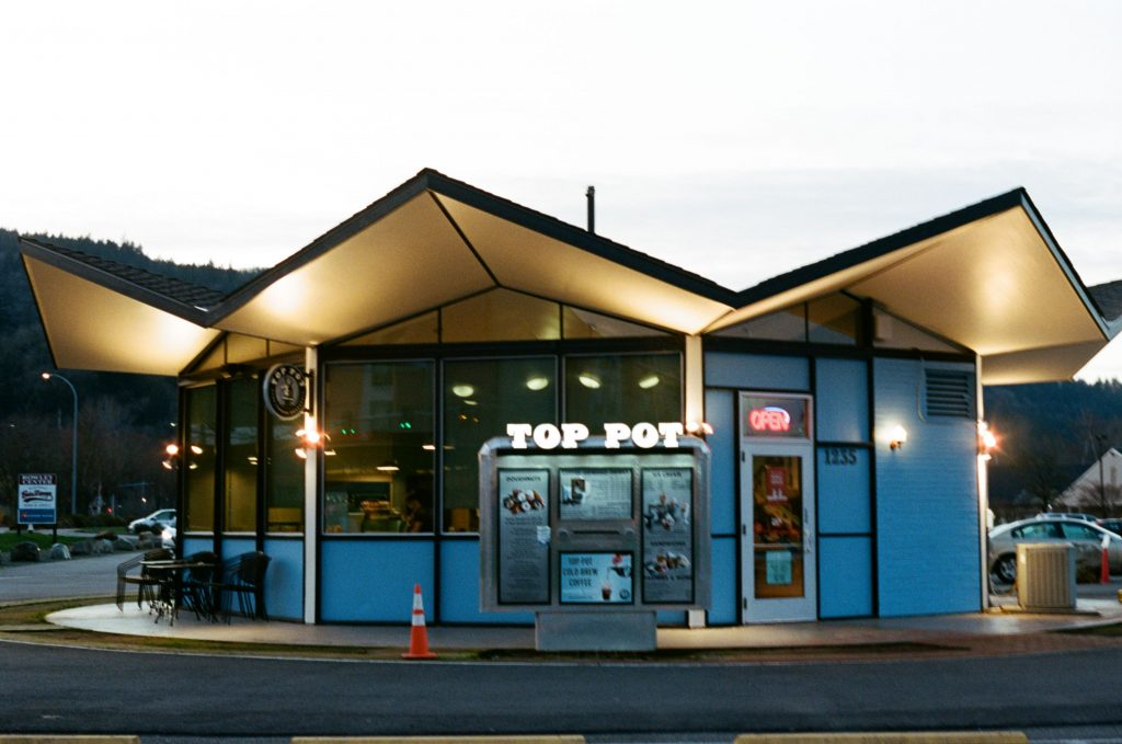 image of donut shop at night