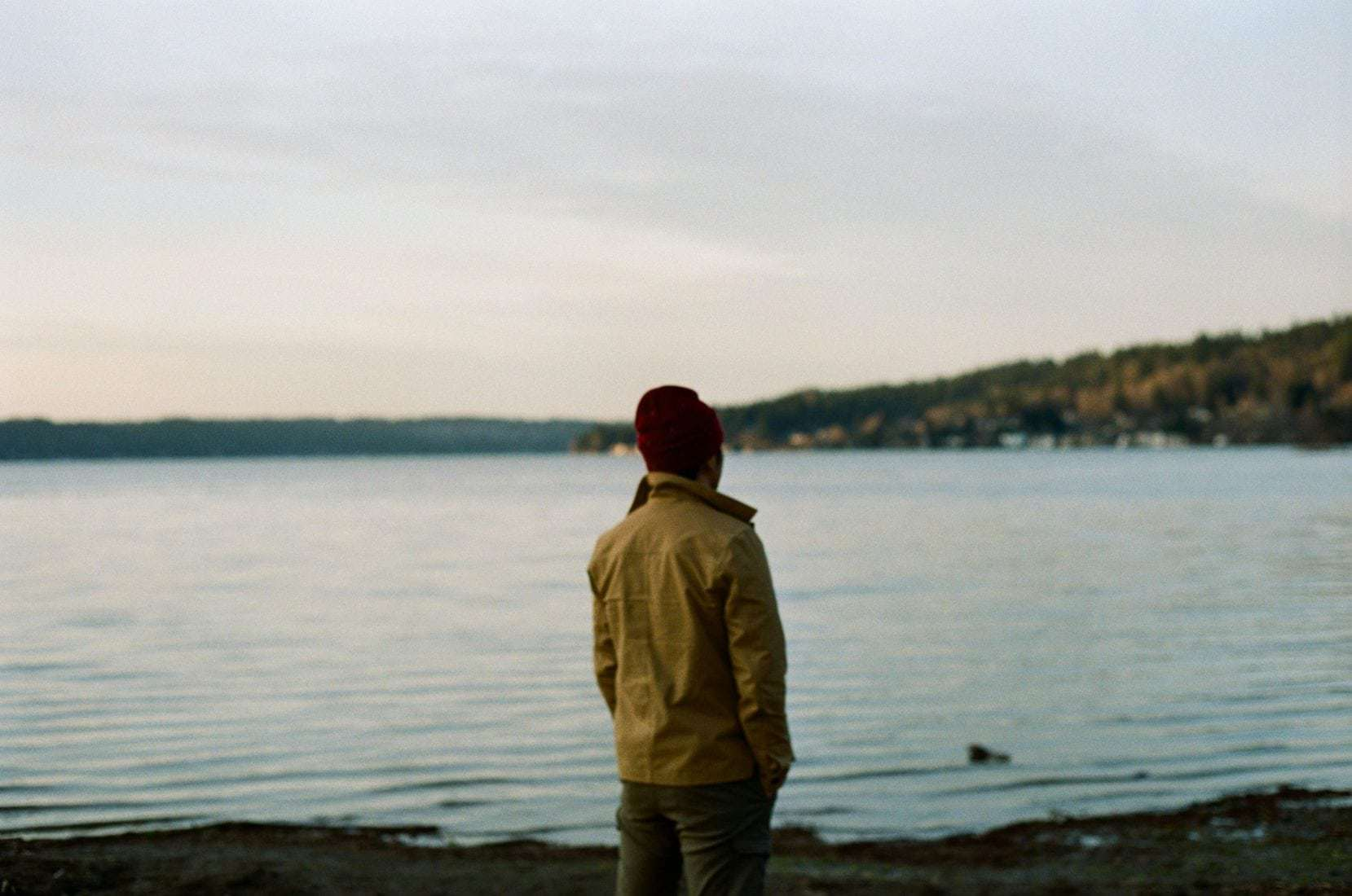 guy in front of lake with kodak portra 400